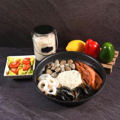 Compra online  Preparado De Paella 1k aprox.mejillones, chirlas, gambas, anillas de calamar, hueso de rape